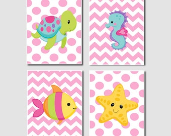 Fish set of 4 prints girl nursery crib bathoom wall art decor picture