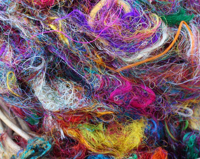 Recycled Sari Silk Fibre for Weaving, Spinning, Felting Basketry, Jewellery, Papermaking. 50gm