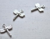 10 Pieces Silver Plated Metal Mini Dragonfly Charms, Silver Metal Jewelry Connector, Jewelry Supply, Jewelry Drops