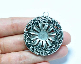 1 Piece Silver Plated Wire Wrapped Pendant, Jewelry Findings, Jewelry Making Supplies