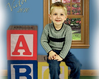 Children's Blocks Digital Photography Background Backdrop Photoshop PSD File #06