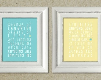 beatles art prints / across the universe lyrics // package deal / discounted price / sale