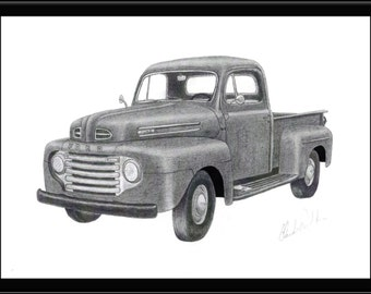 Pencil drawing of a vintage 1949 Ford pick up
