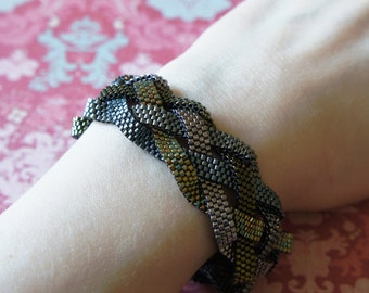 Braided Peyote Bracelet, Seed Bead Bracelet, Delica Bracelet, Beaded Bracelet, Peyote Bracelet, Bead Woven Bracelet - MADE TO ORDER