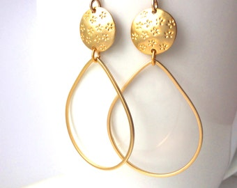 SALE!! Gold Hoop Earrings, Flower Hoop Gold Earrings, Large Hoop dangle Earrings, Lightweight Hoop Earrings