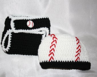 Newborn black and white crochet baseball hat with matching diaper cover