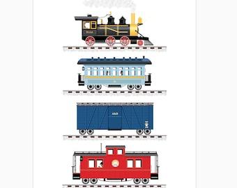 Train Print Art for Boys Room 12 x 16 or 11 x 14
