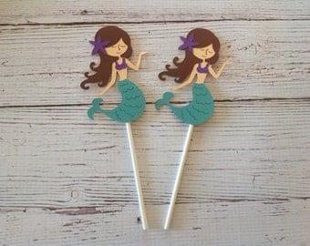Mermaid cupcake toppers, set of 12