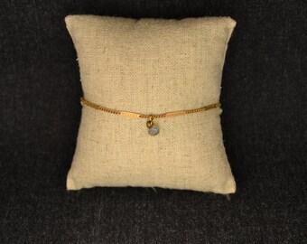 Tiny Lab labradorite and brass bracelet