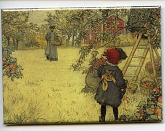 Swedish artist,  Carl Larsson Magnet #REM138 Apple Harvest