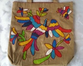 Peacock and flowers – Khaki Tote Bag- Otomi Mexican Folk design- Khaki Canvas Tote Bag.
