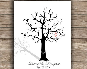 ThumbPrint Fingerprint  Signature Wedding Tree Guest Book Alternative / Gift /  Love Birds