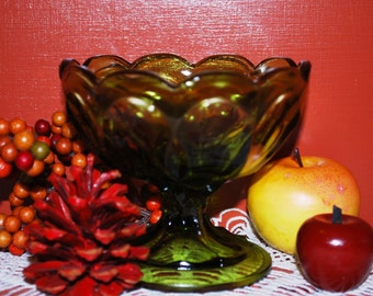 """Forest Green Glass Vintage 3-5/8"""" Scalloped Top Pedestal Compote"""
