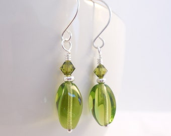 Olive Green Czech Glass Earrings, Olivine Green Swarovski Crystal Earrings, Dangle Earrings, Glass Beaded Drop Earrings, Czech Glass Jewelry