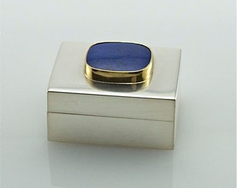 Sterling Silver Pill Box - Sterling and Lapis Box - Presentation Box - Hinged - One of a Kind  - Treasure Box - Bezel Set Lapis in 22K gold