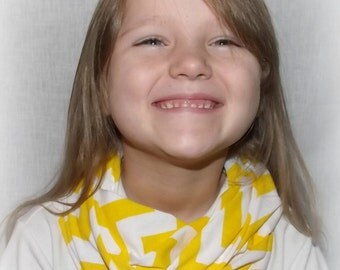 Girls Yellow Buttercup & White Chevron Scarf Ready to Ship Jersey Knit Infinity Scarf Zig Zag Scarves Kids Accessories