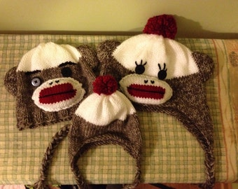 Two Sock Monkey Hat PATTERNS