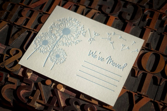 We've Moved, Fill In Letterpress Moving Announcements, set of 8