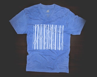 T Shirt Urban V Neck Tree Barcode in Blue