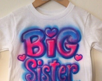 Personalized Big Sister or Big Brother Airbrushed T-shirt