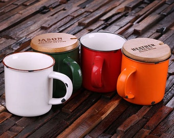 11 oz. Personalized Enamel, Ceramic Porcelain Coffee Cup Mug with Engraved Bamboo Lid