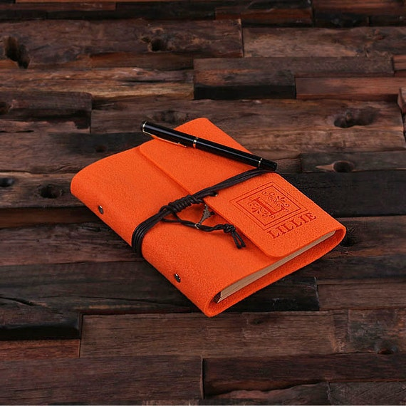 Neon Orange Monogrammed Personalized Felt Engraved Notebook Diary, Journal, Sketchbook , Bridesmaid Holiday Christmas Customized Gift