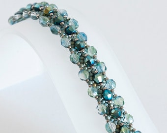 Beadwoven Bracelet in Blue Green Crystals, Green Teal Fire Polish, Sage Green and Silver Seed Beads - Crystal Bracelet - Seed Bead Jewelry