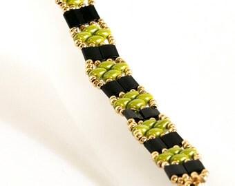 Tila Bead Bracelet - SuperDuo Bracelet - Seed Bead Bracelet in Black Tilas, Olive SuperDuos, Gold Seed Beads - Seed Bead Jewelry - Beadwoven