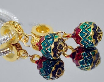 1x Ornament Dangle Faberge Bead - Large Hole - Fits European Bracelets and Necklaces - Holiday - Christmas