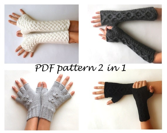 Knit Arm Warmers Pattern : Items similar to PDF Knitting PATTERN - Knit Fingerless Gloves Patterns Cable...