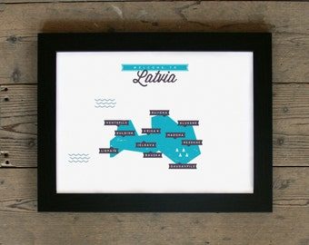 Latvia Map | # poster, map, retro