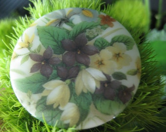 Violet Spring Delight Czech Glass Picture Button 42mm