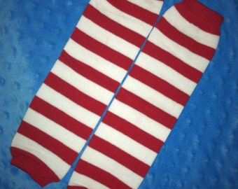 Boutique Red White Stripe Baby Leg Warmers