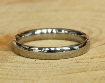 3mm Wide Comfort Fit / Court Shape Titanium Plain band Wedding Ring in either polished or matte finish