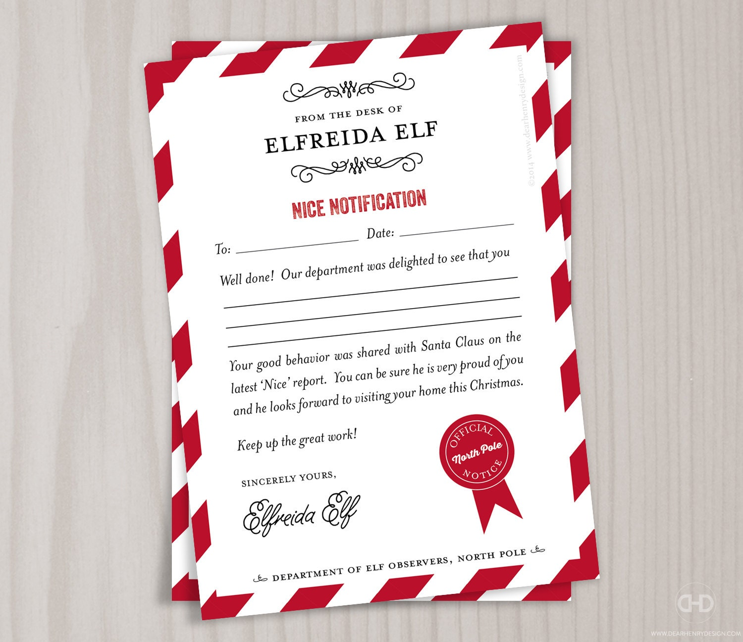 Nice List Note From The North Pole Elves Stationery