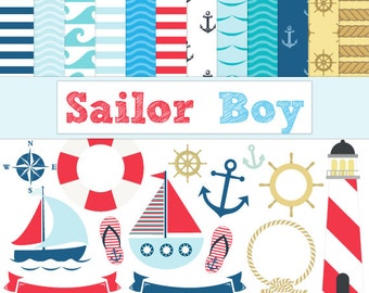 Nautical Paper Pack, Sailor Clipart, includes Sailing Boats, Lighthouse, Anchors, Rope, Banners and more - Instant Digital Download
