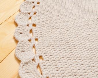 Giant Crochet  rug, Large crochet rug, round crochet rug, Rug of organic wool, Crochet rug, Natural wool rug, Crochet Carpet, Round Rug