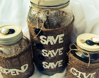 Save, Spend, Give Jar Trio Set