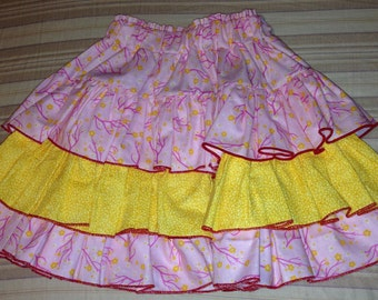 SALE!!!!   Little girl pink and yellow ruffle skirt Size 4 to 6 -- Ready to ship