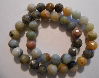 """15"""" inch strand NATuRAL BLUE AMAZONITE FACeTED 10mm Round  gradeB-  SToNE BEADs"""