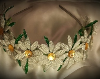 Beaded Daisy Flower Tiara Crown