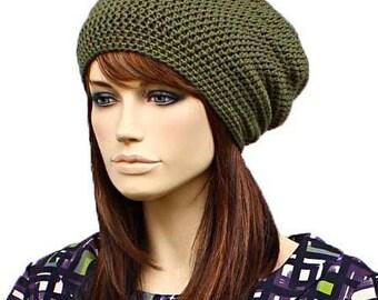Crochet Beanie cotton khaki