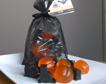 Cat & Pumpkin Halloween Soap - Halloween Gift, Decor, Halloween Guest Soap, Gift for Kids, Non Candy Treats - 12 Pc Set