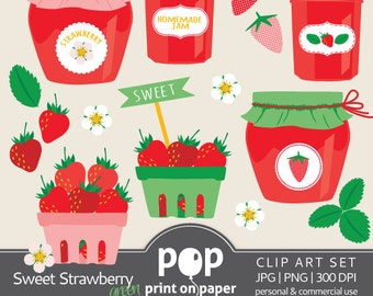 Sweet Strawberry Green - 14 clip arts - JPG and PNG 300 DPI - Personal & Commercial use
