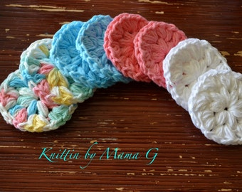 Set of 8 reusable mini hand crocheted cotton facial spa washcloth or cotton pad.