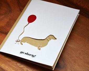 Die-Cut Go Shorty Daschund Card with Balloon