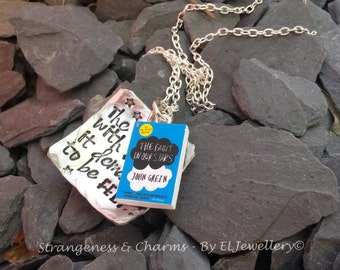 Hand Stamped 'The thing with Pain' Aluminium Square Necklace with Book Charm, TFIOS, Fault in our Stars, Stars, John Green, Jewellery,Unique