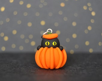 Black Cat in a Pumpkin Polymer Clay Charm (Optional Necklace) *MADE TO ORDER*