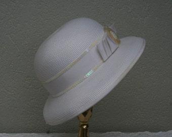 Vintage,Deborah New York,  white, off white,  ladies, dress hat , woven , beads , sequins , ribbon , bow,women's , summer , spring