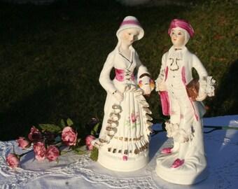 Vintage porcelain colonial couple white pink gold figurines statues dolls ceramic knick knack cottage decor